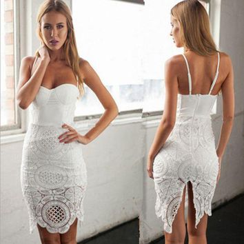 LMFON Summer lace stitching wrapped chest harness pure color dress