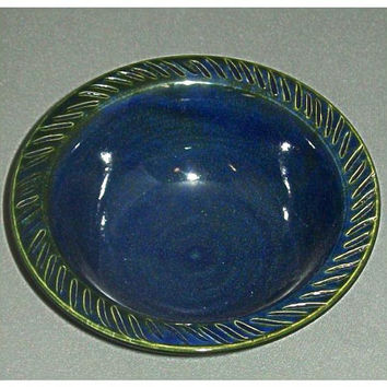 Serving Size Ceramic Blue Bowl by HilltopPottery on Etsy