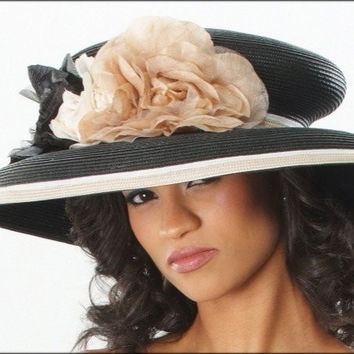BW6675-Classy church dress hat with flowers