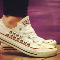 Converse All Star Shoes -White Custom Studded Chuck Taylors! ALL SIZES & COLORS!!