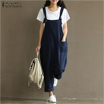 Summer ZANZEA Rompers Womens Jumpsuits Vintage Sleeveless Backless Casual Loose Solid Overalls Strapless Paysuits
