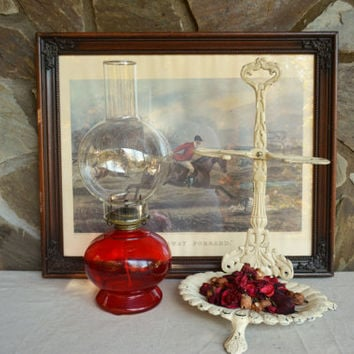 Vintage Red Oil Lamp – Large Oil Lamp with Globe – Ruby Red Glass – Décor Lighting – Christmas Home Decor