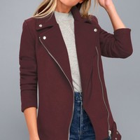 Hand It Over Burgundy Oversized Biker Jacket