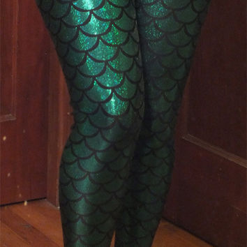 Mermaid Fish Scale Women's Spandex Leggings, Choose from 8 colors