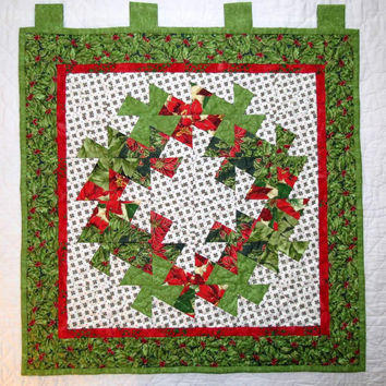 Reversible Quilted Wall Hanging, Christmas Lil Twister Wreath and Chickadees, Wall Quilt