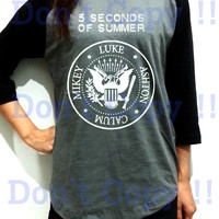 5SOS 5 Seconds of summer Name Unisex Men Women Gray Long Sleeve Baseball Shirt Tshirt Jersey