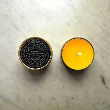 Samhain - Pumpkin, Spice & Woodsmoke Scented Soy Candle in 4 oz Gold Tin