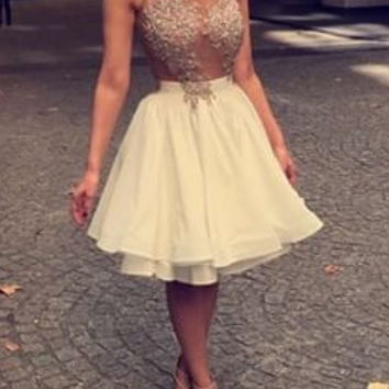 Homecoming Dresses, Appliques Chiffon Lace Beaded Sleeveless Homecoming Dress