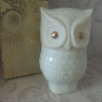 avon precious owl moonwind cream sachet, cream bottle, cream jar, owl perfume