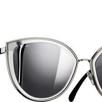 Grey & silver Cat Eye Summer Chanel Sunglasses with Silver Mirror Lenses