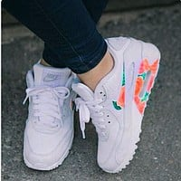 NIKE AIR MAX 90 fashion ladies men running sports shoes sneakers F-PS-XSDZBSH White + fresh flowers