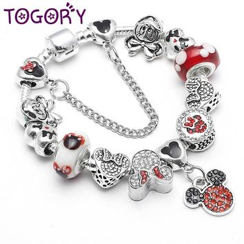 TOGORY Original Silver Plated Mickey Minnie Charm Bracelet For Kids Women with Safety Chain Pandora Bracelet Authentic Jewelry