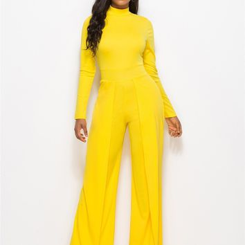 Avery High Neck Wide Leg Jumpsuit - Yellow