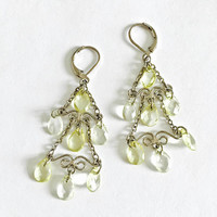 Elegant Silver Toned, Lever Back Chandelier Earrings with Seven Pale Yellow Faceted Tear Drop Crystals, BoHo Earrings, Gypsy Earrings