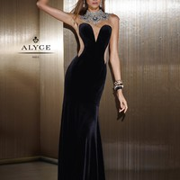 Claudine For Alyce 2502 Velvet Illusion Gown