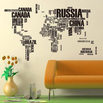CREYHY3 Hot PVC Wall Stickers Letter World Map Quote Removable Vinyl Decal Mural Home Decor  Stickers
