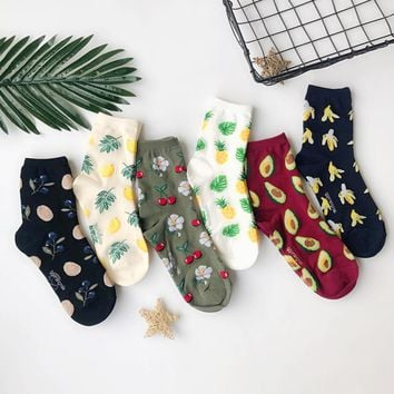 Women Size Fresh Fruits Socks Tropical Oranges Blueberry Lemons Pineapples Cherry Cherries Avocados Bananas Palm Leaf Healthy