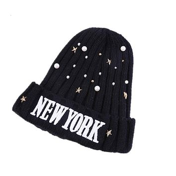 The new children's newyork pearl wool hat letters hedging cap knitted female baby beanies boys girls winter warm caps head wear