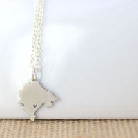 Montenegro Necklace - I heart Montenegro Jewelry, Country map necklace, Montenegro Charm, Podgorica, Montenegro pride