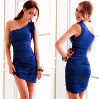Summer New Ruched One Shoulder Close Fit Solid Cocktail Dress