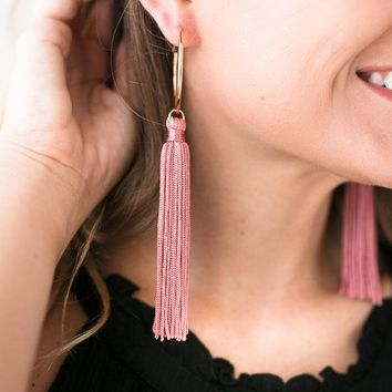 Simply Done Pink Hoop Tassel Earrings