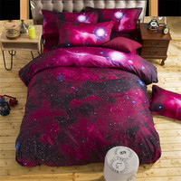 Galaxy New 3D Bedding Sets cotton Universe Outer Space 4/3pcs Duvet cover Bed Sheet  sell pillowcase  Twin Queen  XK001