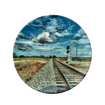 Decorative Porcelain Plate Railroad Tracks