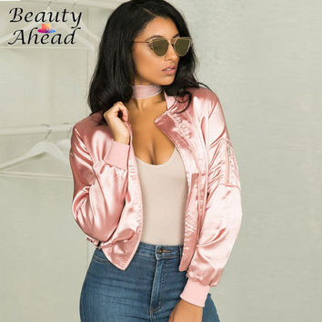 Autumn Winter Basic Zipper Up Jaqueta Feminina Jacket Women Coat 2016 Fashion Kylie Jenner Bomber Silk Satin Jackets Streetwear