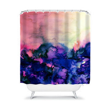 INTO ETERNITY Pink Indigo Blue Fine Art Shower Curtain Washable Floral Home Decor Colorful Watercolor Painting Modern Style Girly Bathroom