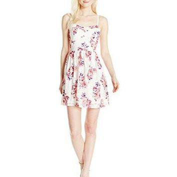 As U Wish Junior's Printed Lace Fit and Flare Dress