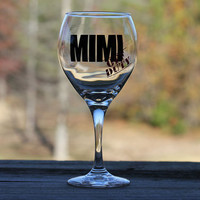Personalized Mimi OFF DUTY wine glass - Great gift idea