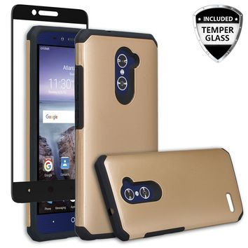 ZTE ZMAX Pro Case, ZTE Blade X Max, ZTE Carry, [Include Temper Glass Screen Protector] Slim Hybrid Dual Layer Armor[Shock Absorbent] Case for ZMAX Pro - Gold