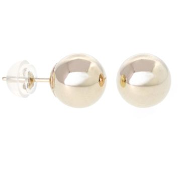 14k Gold 8mm Ball Stud Earrings With Silicon Push Back