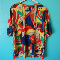 Vintage 90's Abstract Print Blouse