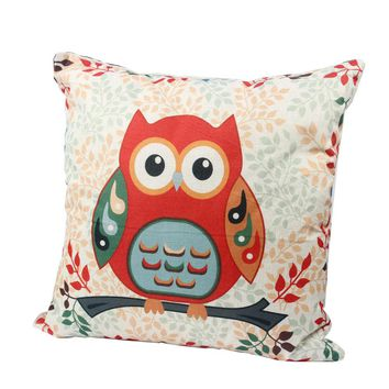 Throw Decorative Pillow  High Quality With Inner Core Car Home Decor Cushion For Sofa Bed 45*45cm Mr. Animal Cat Owl Printed #KF