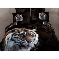3D Animal Panther Leopard Print Bed Covers Oil Painting Tiger Bed Sheets Horse Duvet Covers Dophin Queen King 2013 Popular Comforter Set 4Pcs (queen, tiger1)