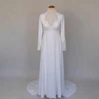 Vintage 1970s White Wedding Dress Renaissance Prom Elf Queen Long Hippie Dress Fairy Tale Medieval Fantasy Princess Bride Boho Fall Wedding