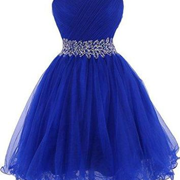 Tulle Short Homecoming Dresses Crystal Beads Junior Sweetheart Cocktail Prom Gowns