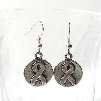 Silver Antique Charms Dangels Earrings/Cross Peace Sign I love Football Hedgehog Cancer Ribbon