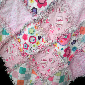 Flannel Baby Rag Quilt for Girls Pink