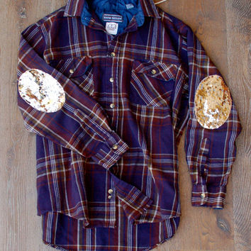 Boyfriend Flannel Shirt  Champagne Sequin Elbow Patch Flannel Womens The Dazzle Yall Grunge Hipster Sequin Elbow Patches  Womens Plaid Shirt
