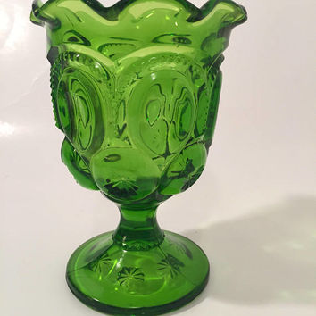 Green Moon and Stars Glass Compote, LE Smith Green Crimped Glass Pedestal Compote
