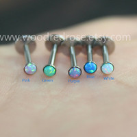 More Color Choice!Dainty Opal Earring,Screw Fire Opal Stud Cartilage Earring,Opal Stud Cartilage Earring,Tragus Helix Piercing