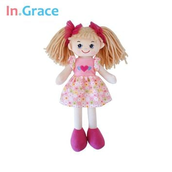 In.Grace brand cute big eyes dolls for girls with flower pattern dress and red headwear beautiful soft dolls for baby girls pink