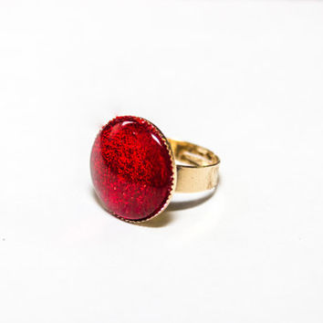 Deep Apple Glitter Red adjustable ring