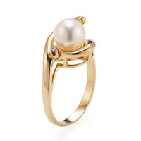 Belpearl Women's Cultured Pearl & Diamond Swirl Ring - White - Size 5.5