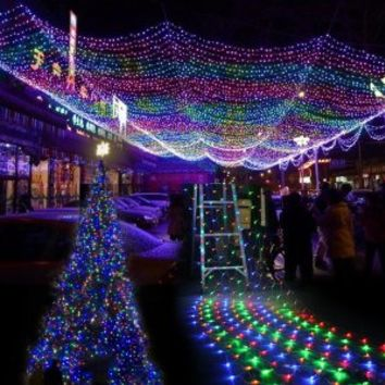 Amzdeal ®Colorful 100 LED Net Mesh Decorative Fairy Lights Twinkle Lighting Christmas Wedding Party US/110V