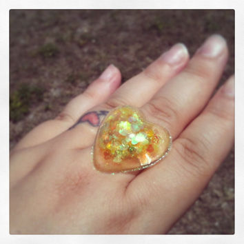 "Handmade ""PrismGem"" Yellow Heart Glitter Loaded Large Resin Dome Bubble Adjustable Ring Made to Order"