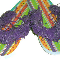 SPECIAL - Adult Women Flip Flops with Yarn Trim Embellishment - Spring and Summer Fashion Accessory - Ready to Ship