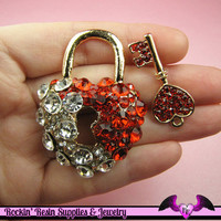 Amazing Blinged-out HEART LOCK and KEY Decoden Cellphone Cabochon Decoration from Rockin' Resin